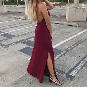 Burgundy Maxi Dress Backless Halter w/ Slit
